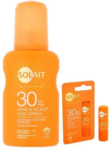 SOLAIT SPF 30 HAIR & SCALP SUN SPRAY LIP PROTECTION BALM SOLAIT KIDS SPF 30, 50+ MOISTURISING SUN LOTION Sprej na vlasy a vlasovou pokožku dokonale ochrání vlasy a vyživí je díky složení s vitaminem