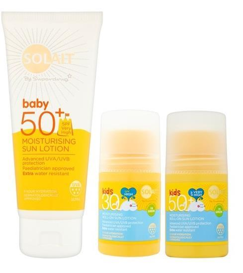 SOLAIT BABY / KIDS SPF 30, 50+ MOISTURISING SUN LOTION SOLAIT AFTER SUN MILK, GEL, SPRAY Hydratační tělové mléko SOLAIT baby 50+ nabízí vysokou ochranu i pro ty nejmenší děti.
