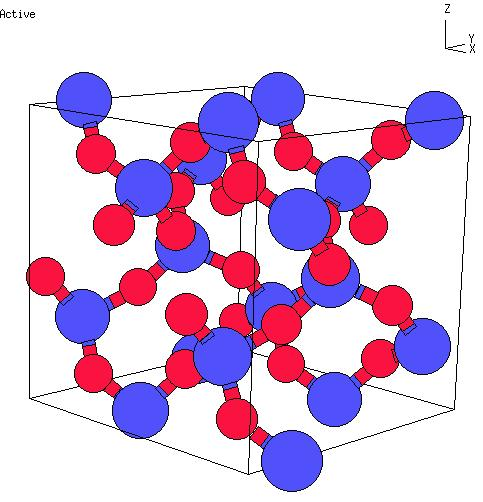 Figure 2.2: The crystal structure of α-quartz. Blue balls are atoms of silicon, red balls are atoms of oxygen [36]. 2.4.