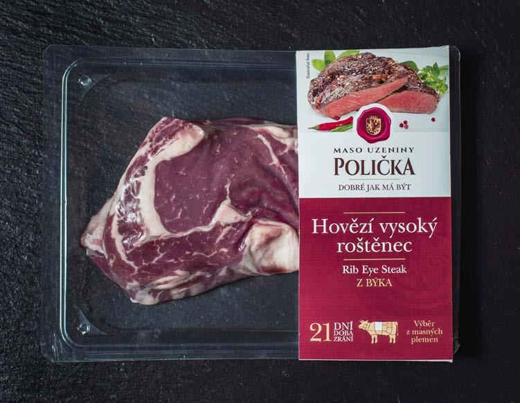 FOOD POTRAVINY Steak from Maso Uzeniny Policka packed in CRYOVAC Darfresh Reduced Scarp system with mono PET bottom film Steak od Maso Uzeniny Polička v obalu CRYOVAC