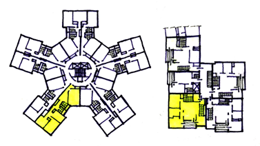 4] (Picture 5) Corridor buildings - left above: very small, single-orientation units, Habichtsplatz in