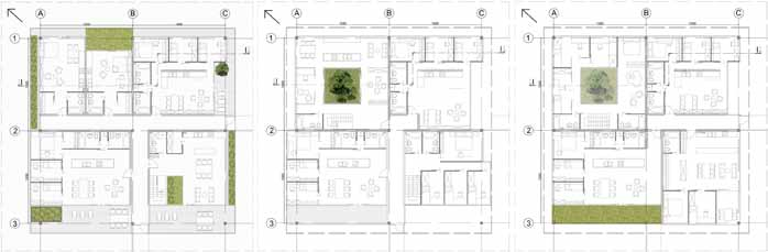 Picture 16 A layout of a living section, Planning of residential buildings; author: Karolina Sznura, supervisor: dr inż. arch.