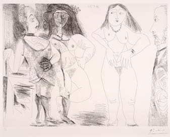 století / Celestine with a girl and two men in costumes from the 17 th century (Série / Serie 156), 21.05.1971 37 x 49,5 cm sign. razítkem Picasso a čísl.
