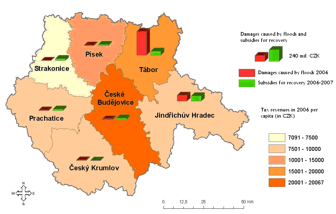 Tabor were not as high as damages in the least affected district. Compared to 2002 when floods affected all districts about the same, in 2006 the damages were mostly concentrated in district Tabor.