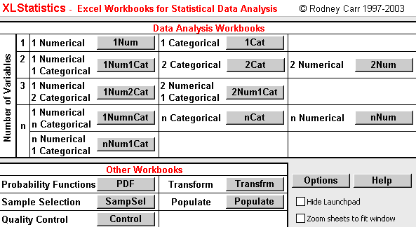 Figure 1: XLStatistics main menu(workbook) from the web address http://www.deakin.edu.au/ rodneyc/xlstats.htm we getarchivexls5.zip(cca6mb).weextractthisarchivetoourcreated folder.