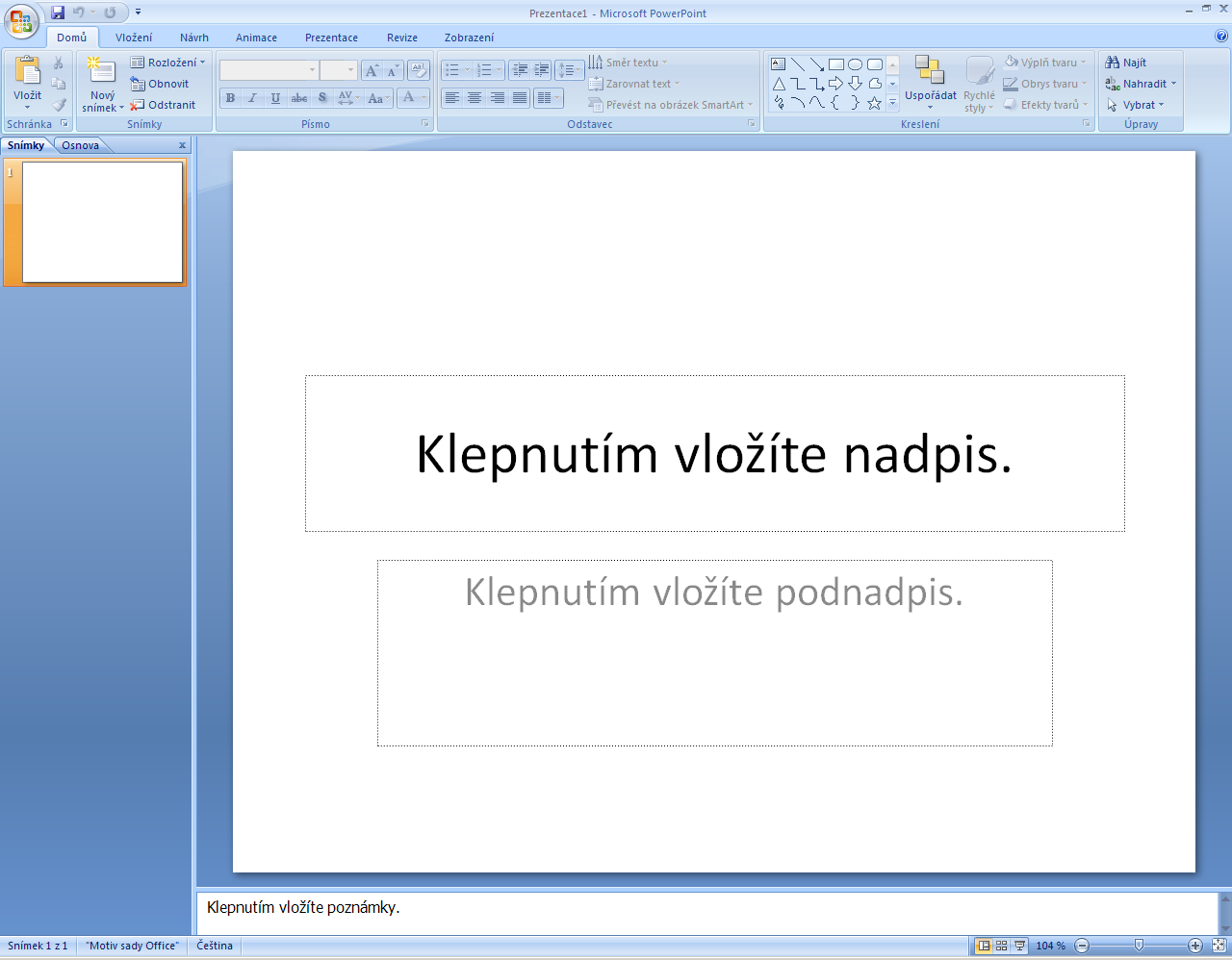 MS PowerPoint 2007 4 MS Powerpoint 2007 popis Tl.