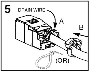 For shielded cables, it will be necessary to follow steps 1 through 7 in Figure 7 to install the metallic cover. Figure 8 Figure 8 is a close-up of step 5 in Figure 7.