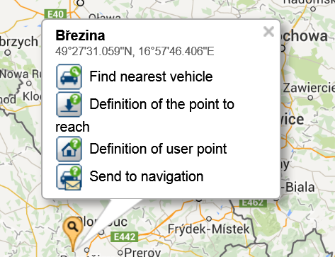 Under the Settings on the map: Definition of user points - The feature used to define custom point by clicking on a position on the map.
