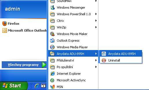 4.1.1.2 Odinstalace 1) Start Programy AnyDATA ADU895-H Uninstall