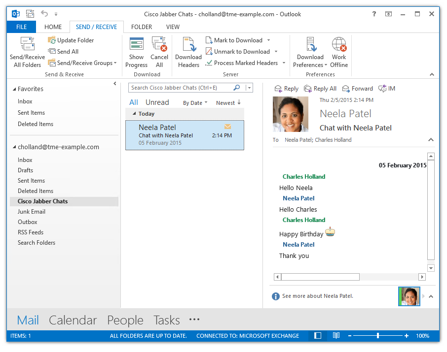 NEW ON JABBER FOR WINDOWS SAVE MY CHAT TO OUTLOOK / FILE Jabber for Windows now provides the option to save Chat / IM conversations to Microsoft Outlook.