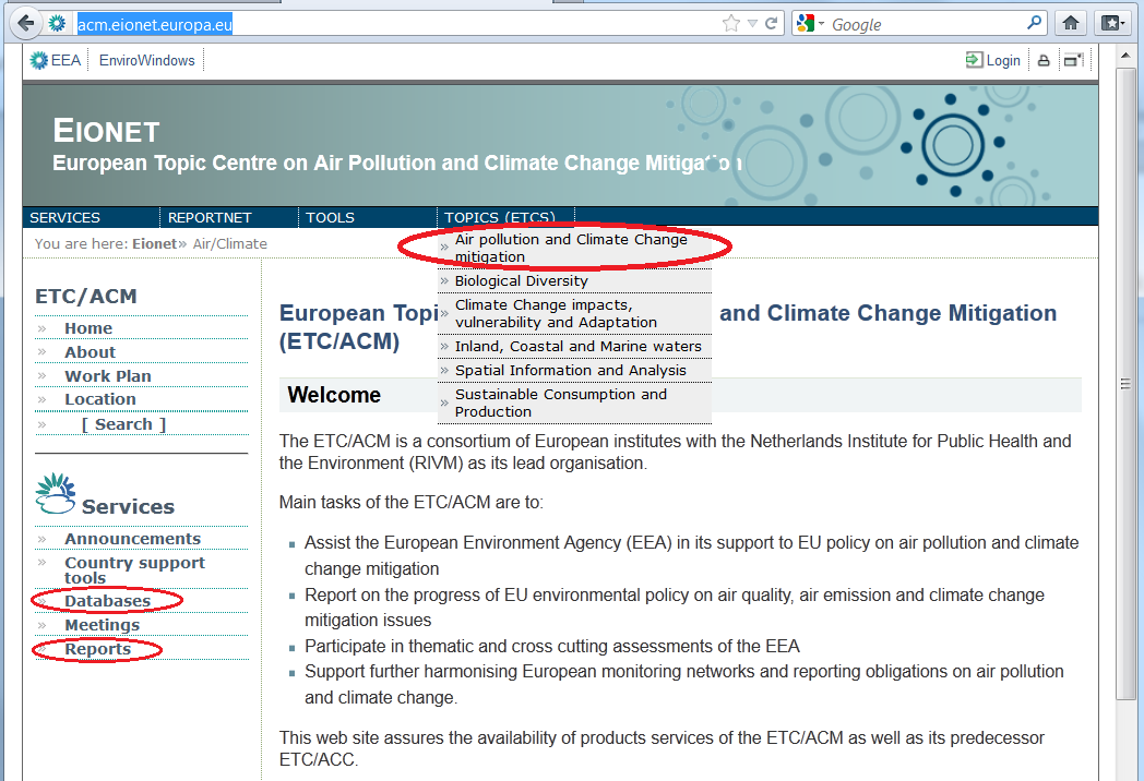 Eionet European Environment Information and Observation