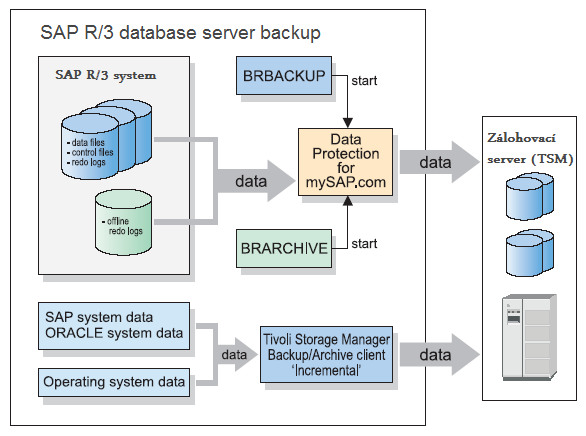 SAPDBA BRBACKUP BRARCHIVE BRRESTORE Oracle databáze BACKINT interface TDP for SAP R/3 Repository Zálohovací infrastruktura Tivoli Storage Manager /oracle/<sid>/
