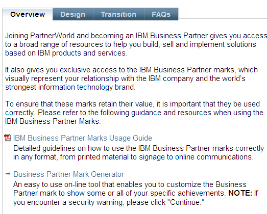 PartnerWorld web page BP Logo Generator www.ibm.