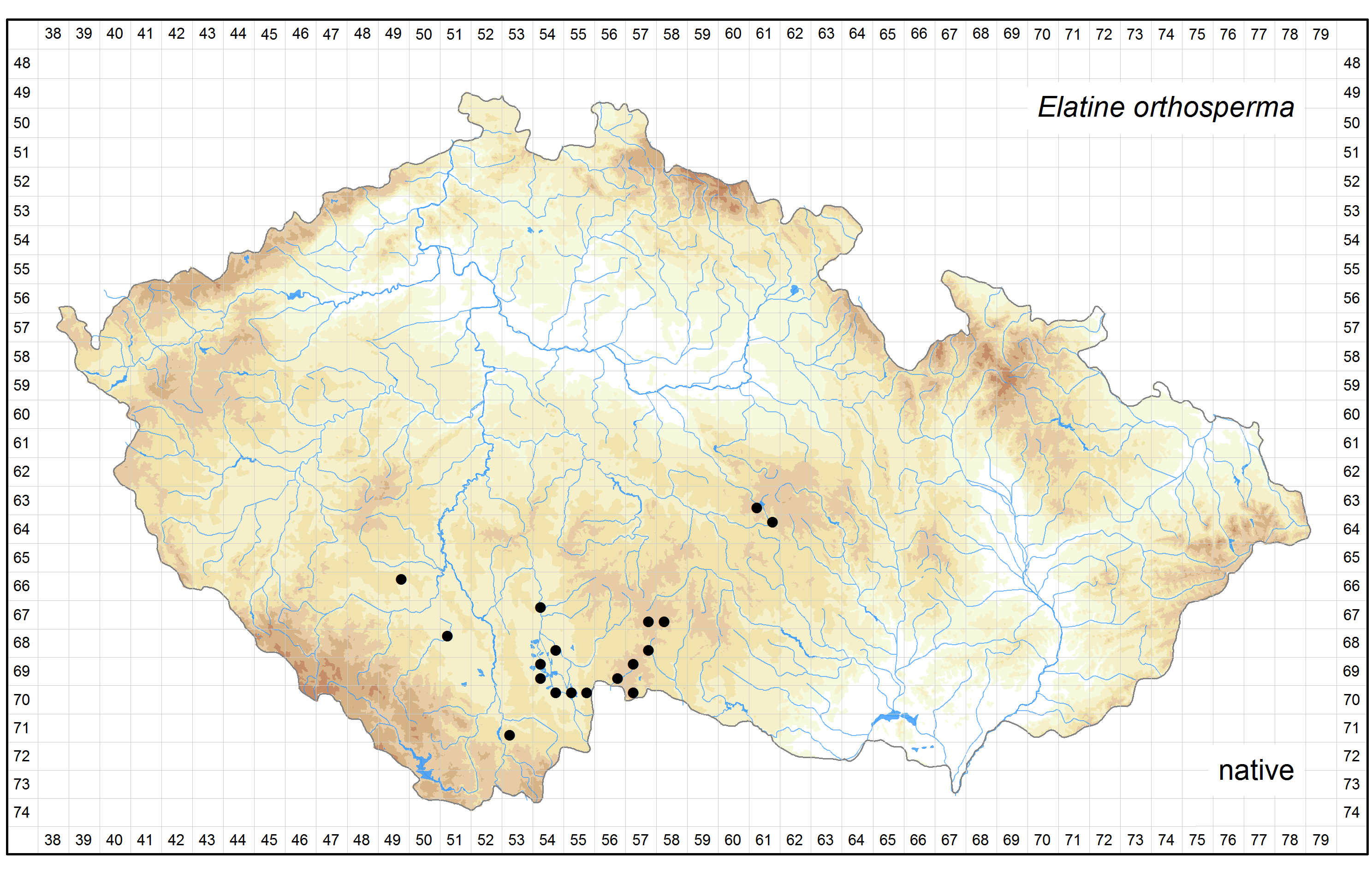 Distribution of Elatine orthosperma in the Czech Republic Author of the map: Zdenek Kaplan, Jan Prančl, Kateřina Šumberová Map produced on: 18-11-2015 Database records used for producing the