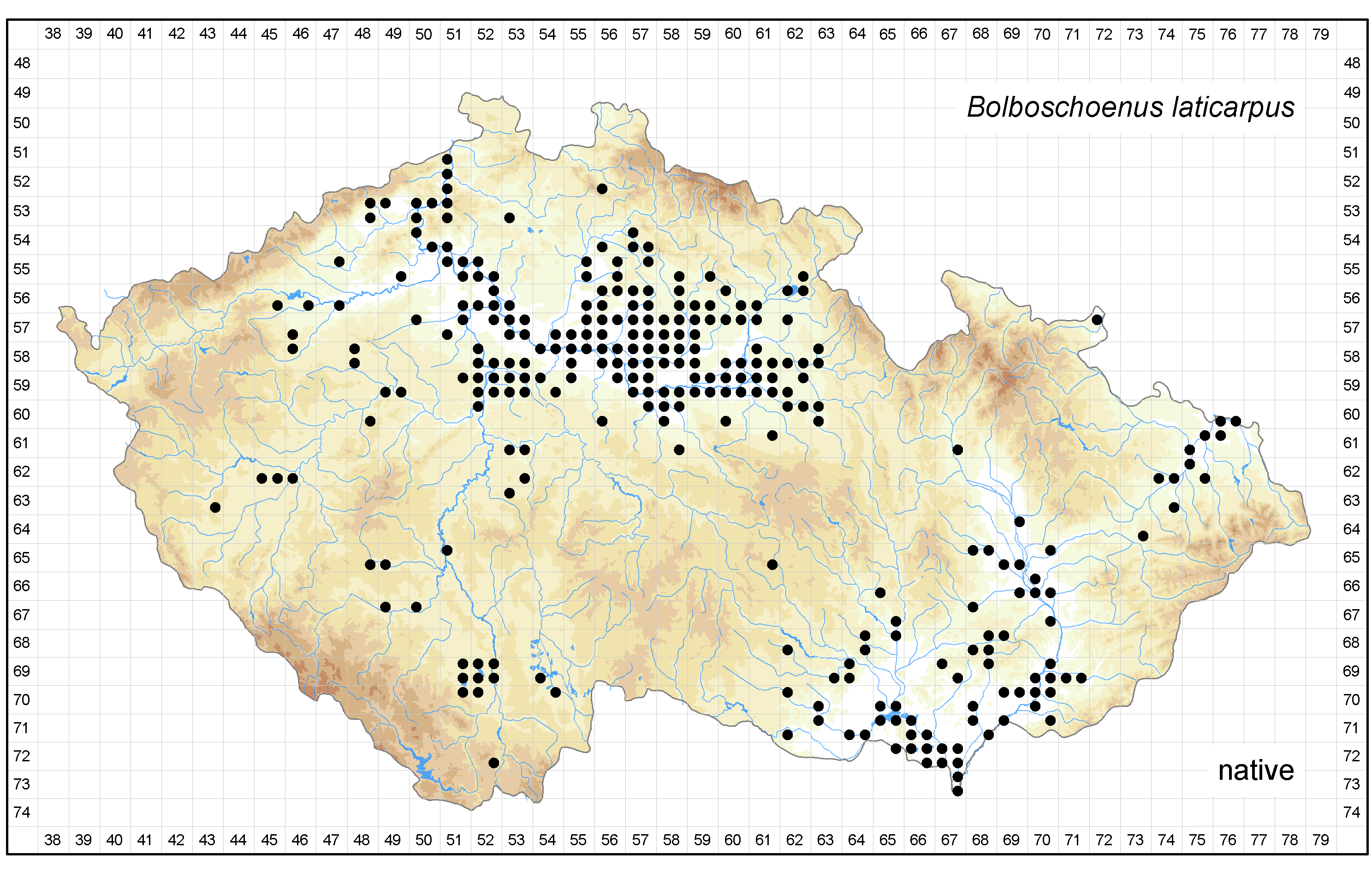 Distribution of Bolboschoenus laticarpus in the Czech Republic Author of the map: Michal Ducháček, Zdenka Hroudová Map produced on: 18-11-2015 Database records used for producing the distribution map