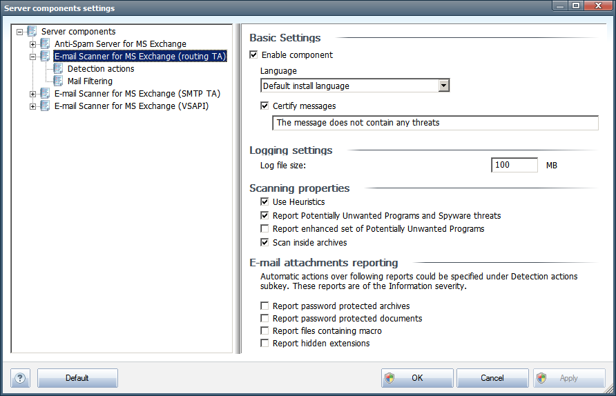 4.2. E-mail Scanner for MS Exchange (routing TA) To open the settings of E-mail Scanner for MS Exchange (routing transport agent), select the Settings button from the interface of the component.