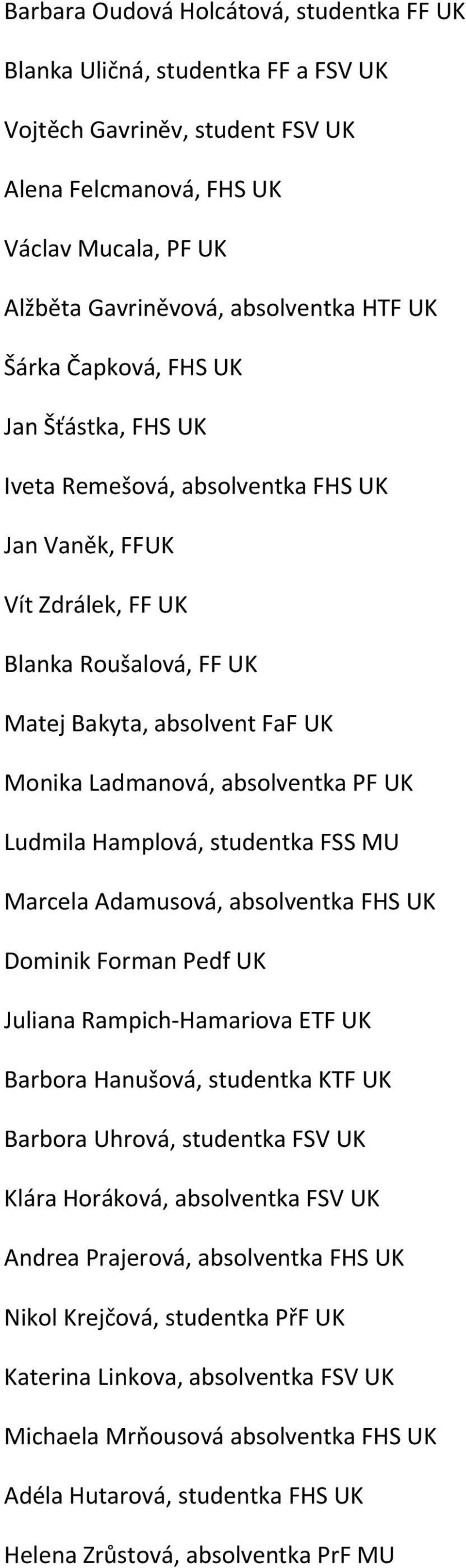 UK Ludmila Hamplová, studentka FSS MU Marcela Adamusová, absolventka FHS UK Dominik Forman Pedf UK Juliana Rampich Hamariova ETF UK Barbora Hanušová, studentka KTF UK Barbora Uhrová, studentka FSV UK