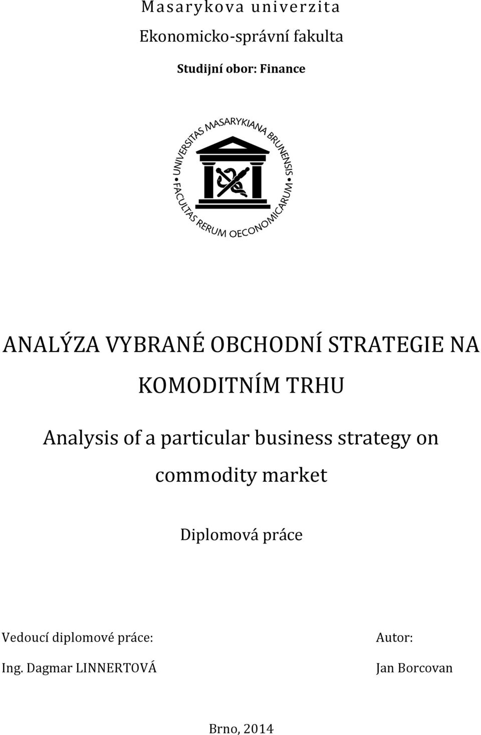 of a particular business strategy on commodity market Diplomová práce