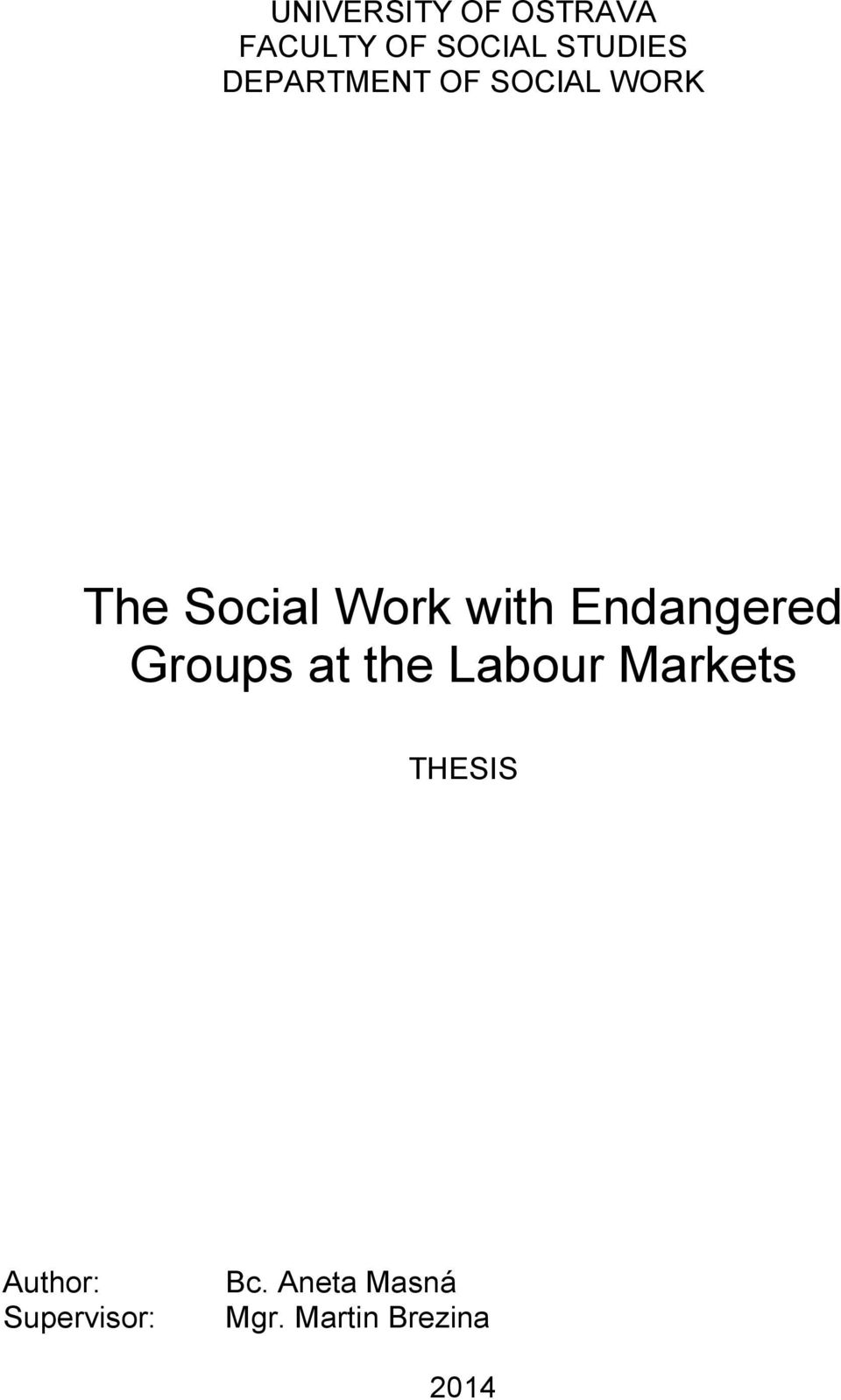Endangered Groups at the Labour Markets THESIS