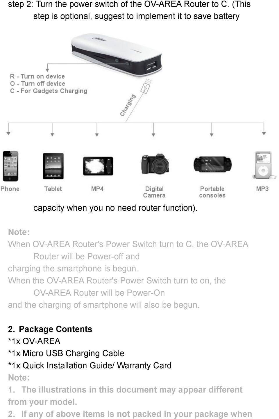 When the OV-AREA Router's Power Switch turn to on, the OV-AREA Router will be Power-On and the charging of smartphone will also be begun. 2.