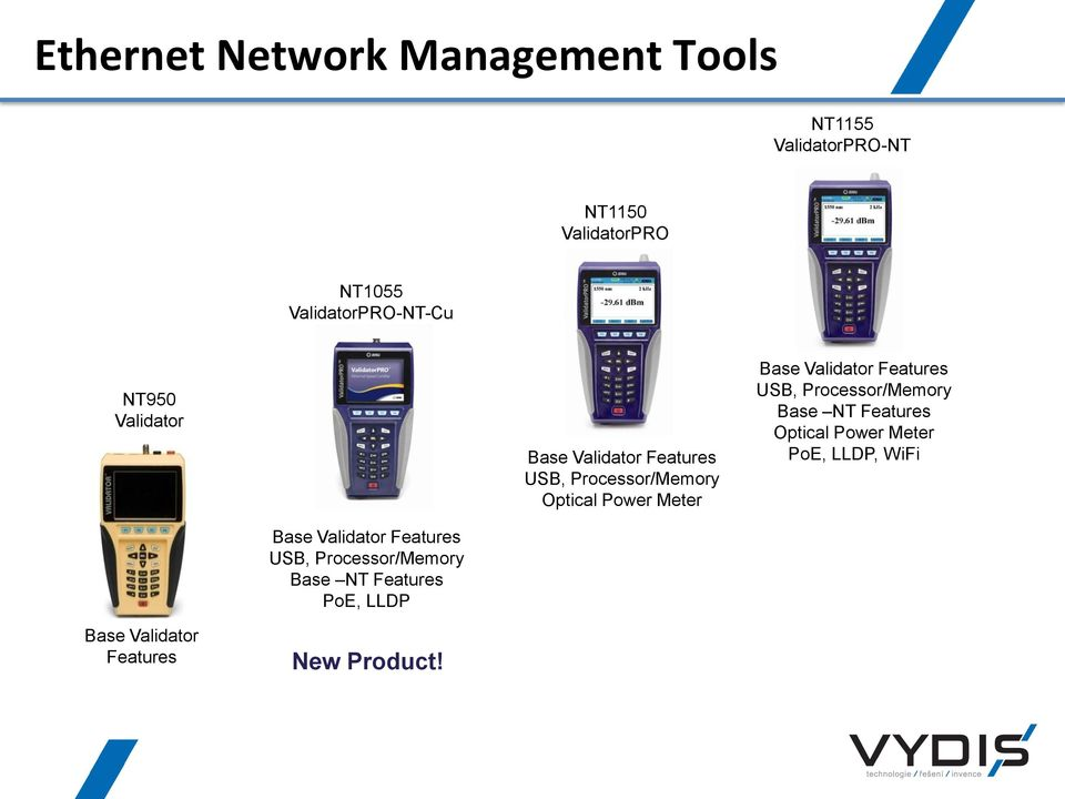 Meter Base Validator Features USB, Processor/Memory Base NT Features Optical Power Meter PoE,