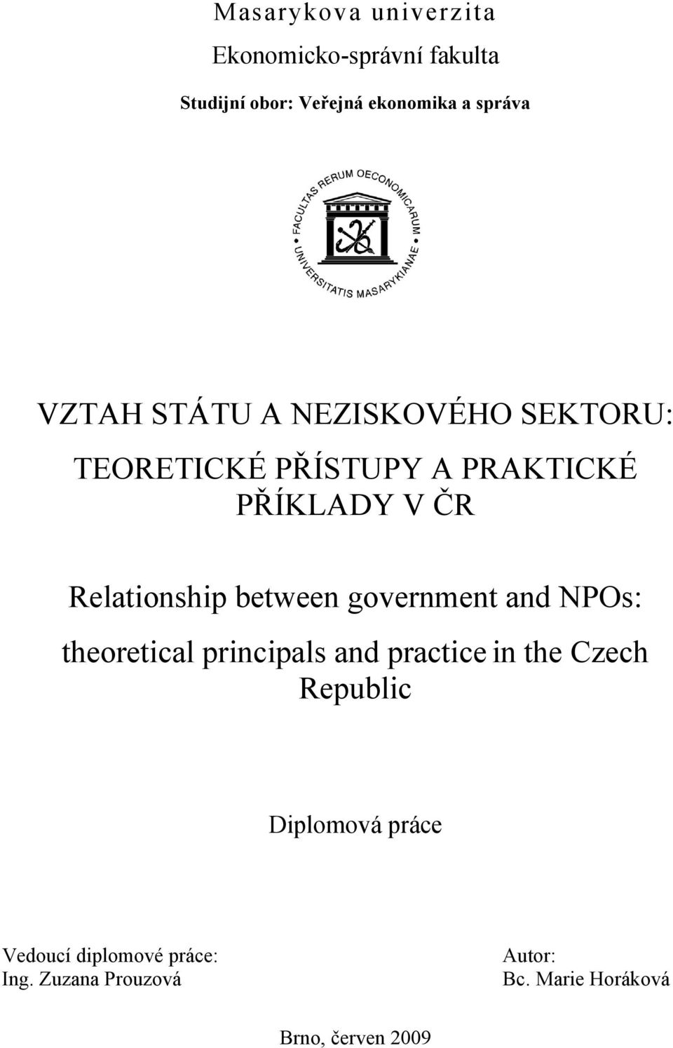 between government and NPOs: theoretical principals and practice in the Czech Republic