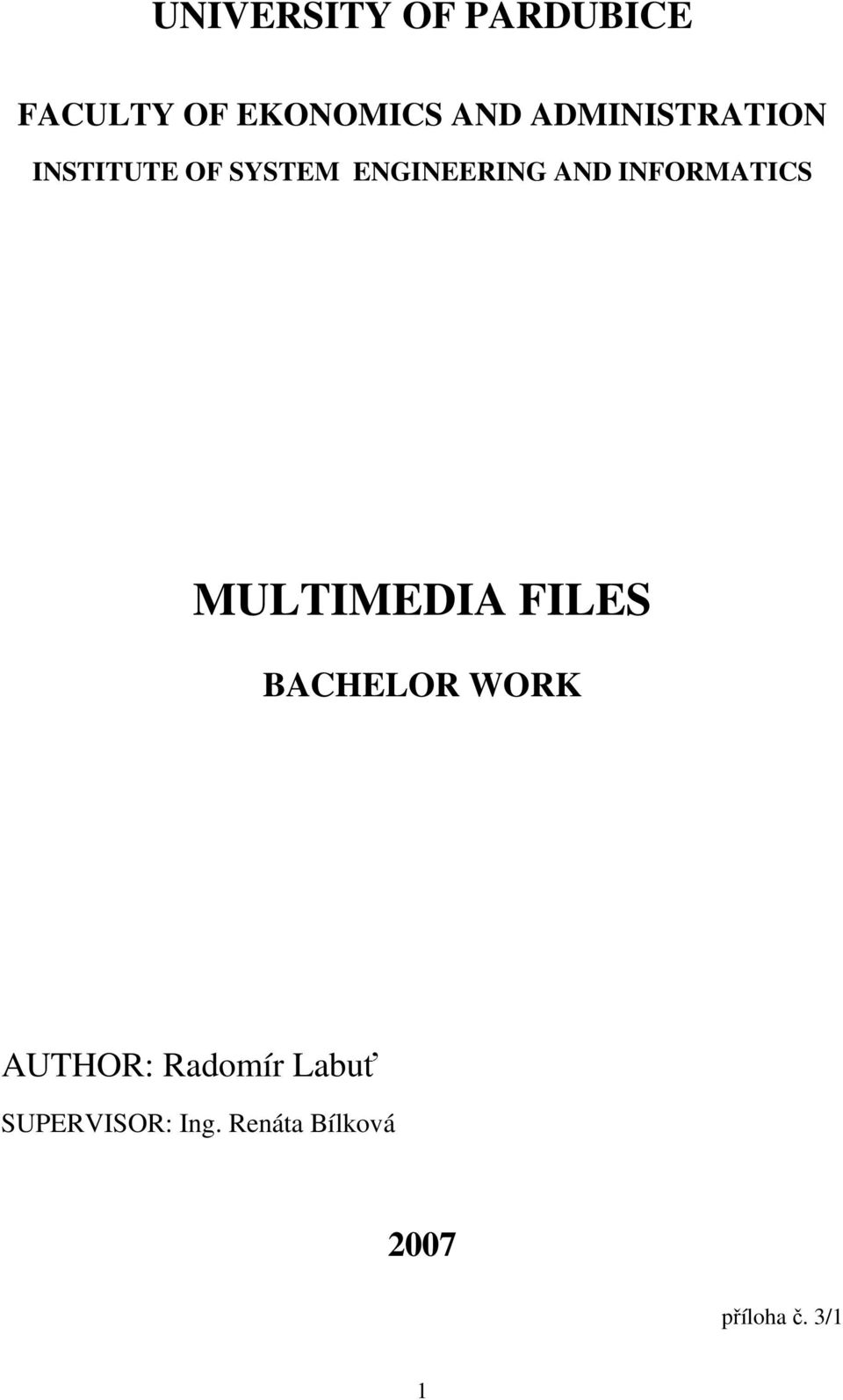 INFORMATICS MULTIMEDIA FILES BACHELOR WORK AUTHOR: