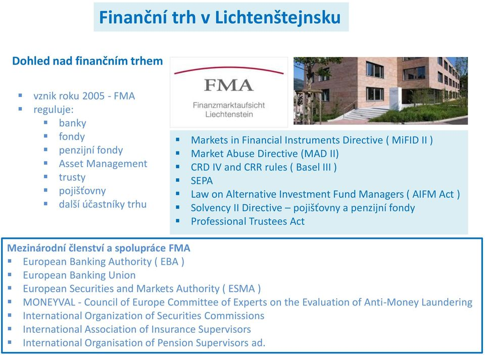 Trustees Act Mezinárodní členství a spolupráce FMA European Banking Authority ( EBA ) European Banking Union European Securities and Markets Authority ( ESMA ) MONEYVAL - Council of Europe Committee