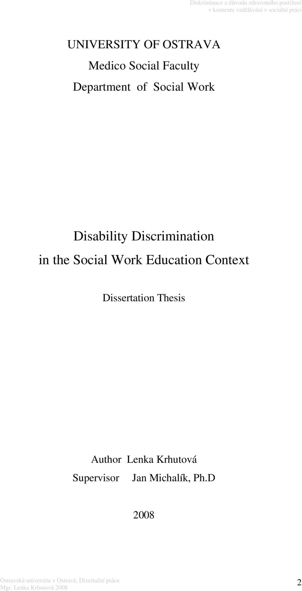 in the Social Work Education Context Dissertation