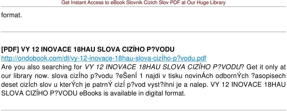 pdf Are you also searching for VY 12 INOVACE 18HAU SLOVA CIZÍHO P?VODU?