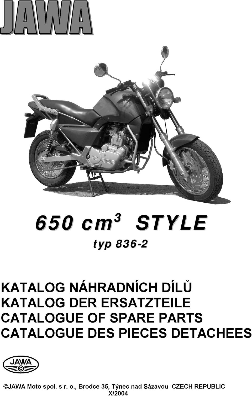 CATALOGUE DES PIECES DETACHEES JAWA Moto spol.