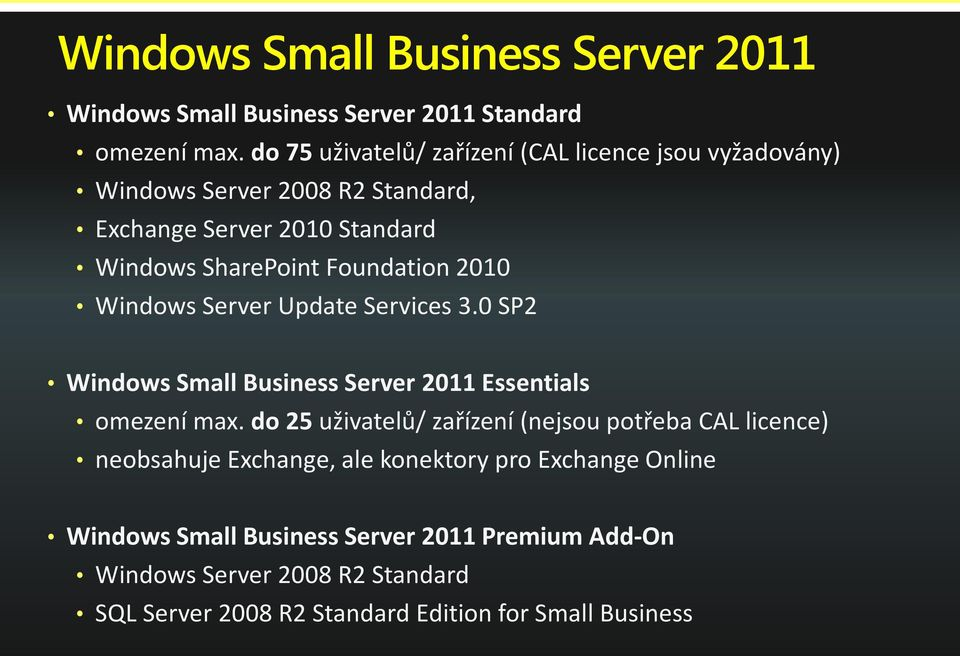 Foundation 2010 Windows Server Update Services 3.0 SP2 Windows Small Business Server 2011 Essentials omezení max.