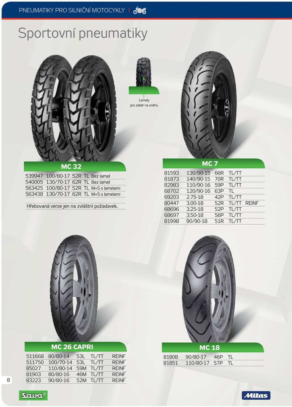 MC 7 81593 130/90-15 66R TL/TT 81873 140/90-15 70R TL/TT 82983 110/90-16 59P TL/TT 68702 120/90-16 63P TL 69203 2.75-18 42P TL/TT 80447 3.00-18 52R TL/TT REINF 68696 3.