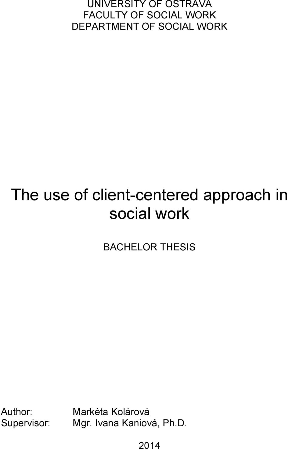 client-centered approach in social work BACHELOR