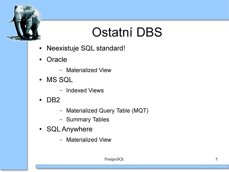 Views DB2 Materialized Query Table (MQT)