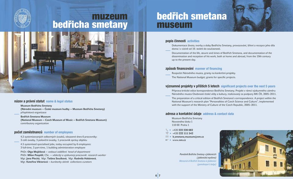 Documentation of the ife, œuvre and times of Bedřich Smetana, and documentation of the dissemination and reception of his work, both at home and abroad, from the 19th century up to the present day.
