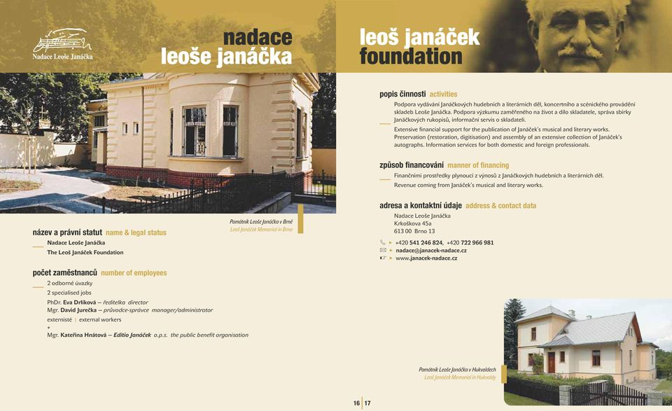 Extensive financia support for the pubication of Janáček s musica and iterary works. Preservation (restoration, digitisation) and assemby of an extensive coection of Janáček s autographs.