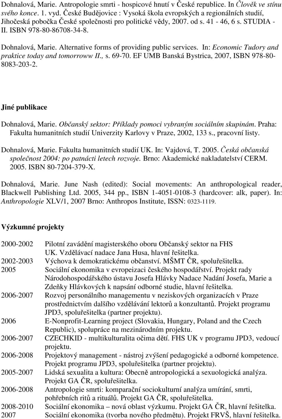 Alternative forms of providing public services. In: Economic Tudory and praktice today and tomorroww II., s. 69-70. EF UMB Banská Bystrica, 2007, ISBN 978-80- 8083-203-2.