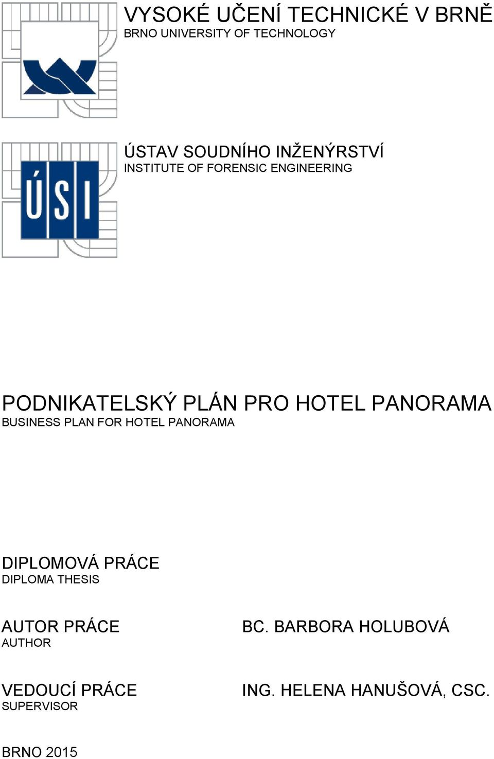 PANORAMA BUSINESS PLAN FOR HOTEL PANORAMA DIPLOMOVÁ PRÁCE DIPLOMA THESIS AUTOR