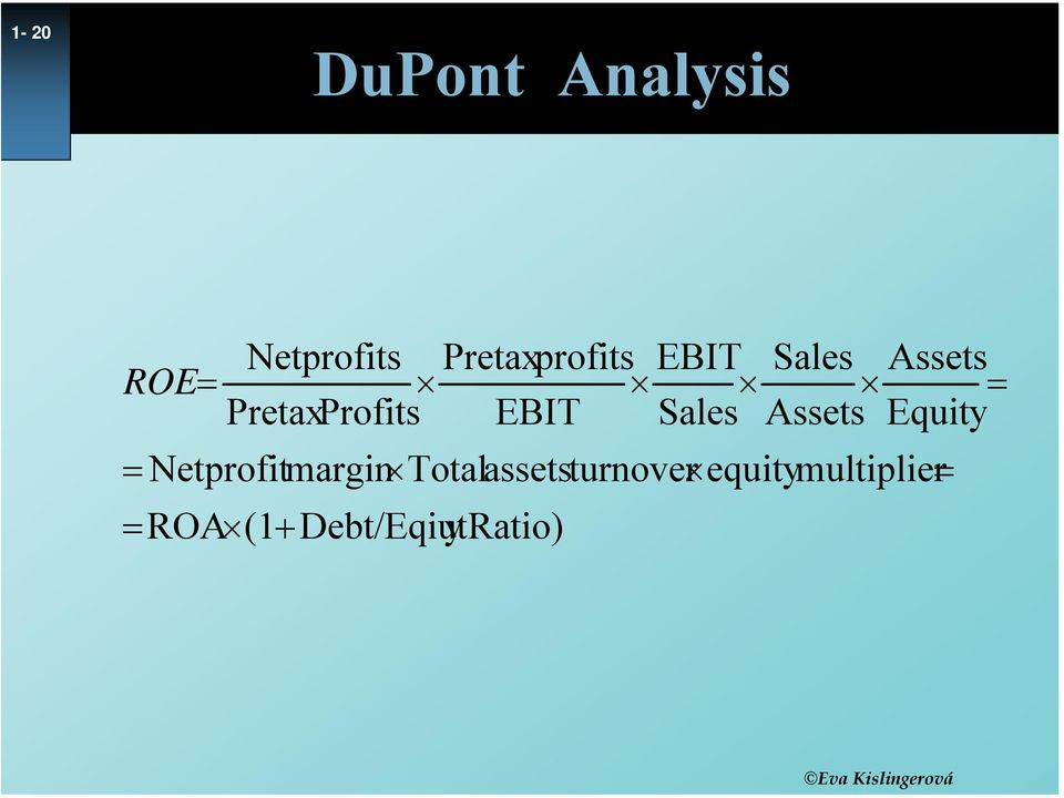 Assets Equity = Net profit margin