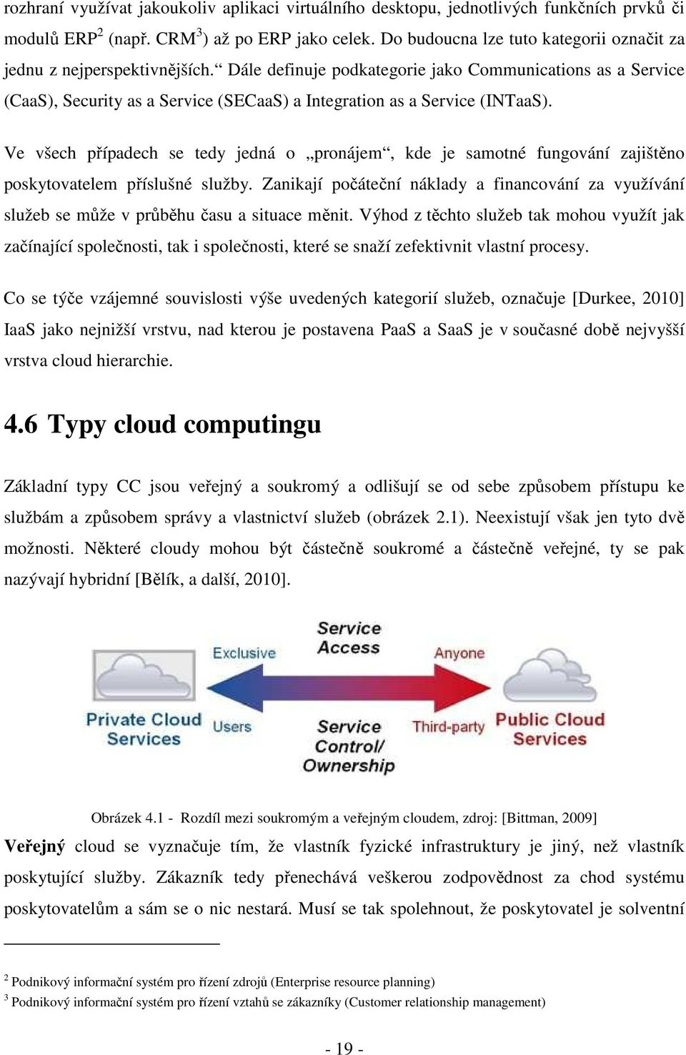 Dále definuje podkategorie jako Communications as a Service (CaaS), Security as a Service (SECaaS) a Integration as a Service (INTaaS).