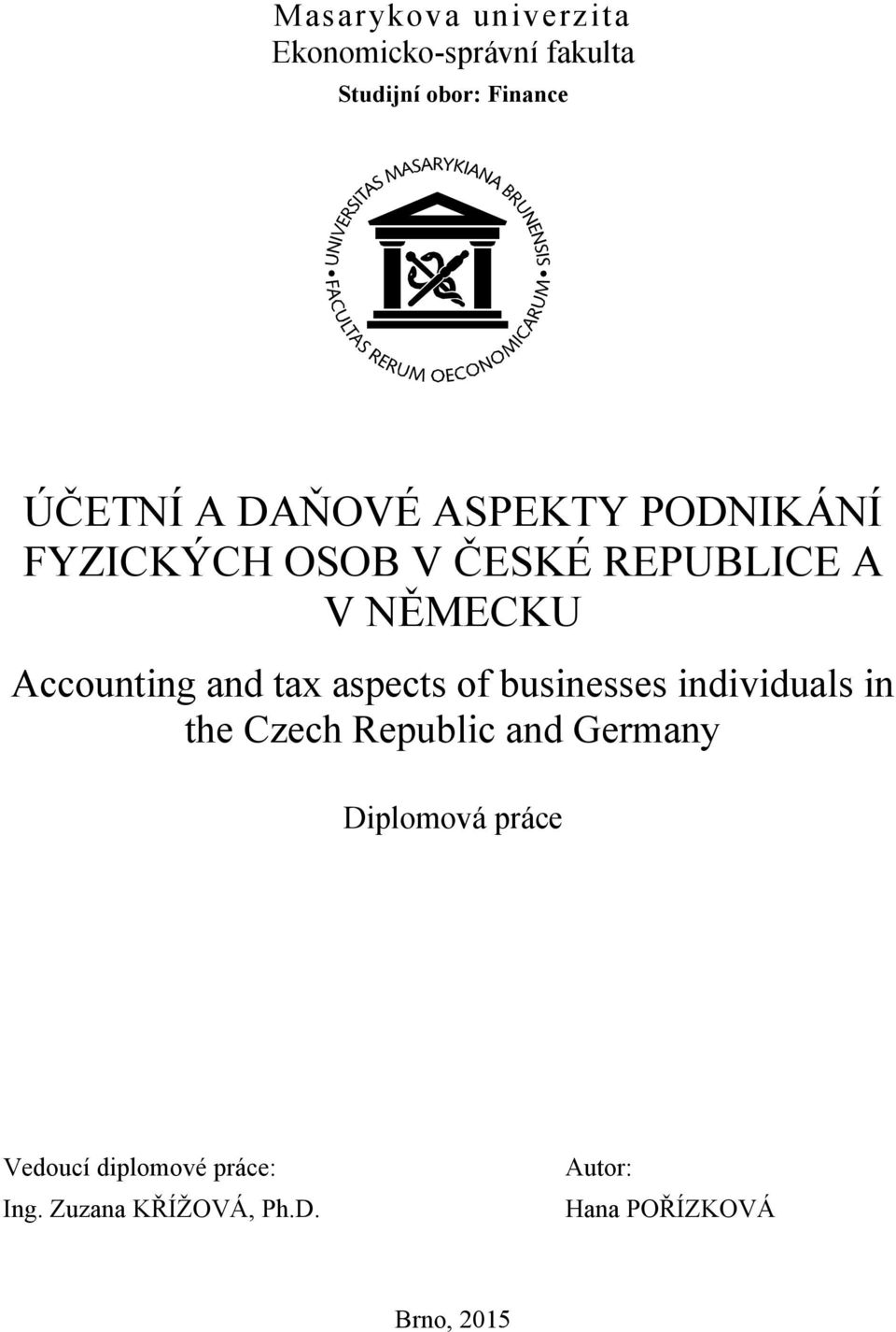 tax aspects of businesses individuals in the Czech Republic and Germany Diplomová