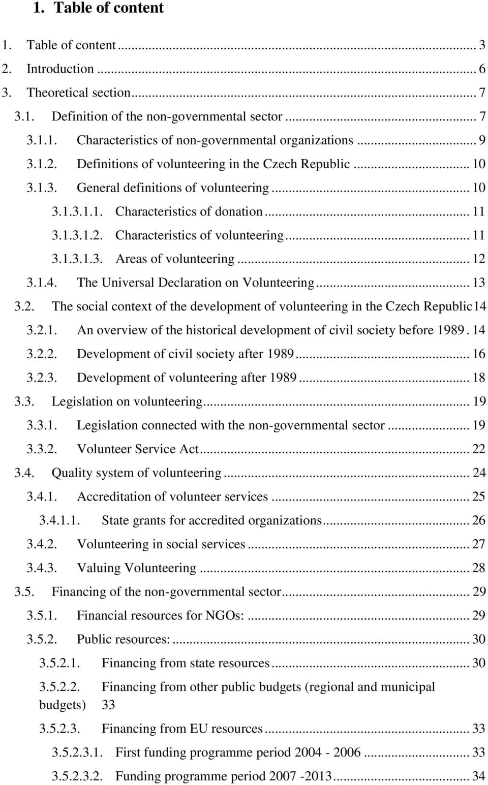 .. 11 3.1.3.1.3. Areas of volunteering... 12 3.1.4. The Universal Declaration on Volunteering... 13 3.2. The social context of the development of volunteering in the Czech Republic14 3.2.1. An overview of the historical development of civil society before 1989.