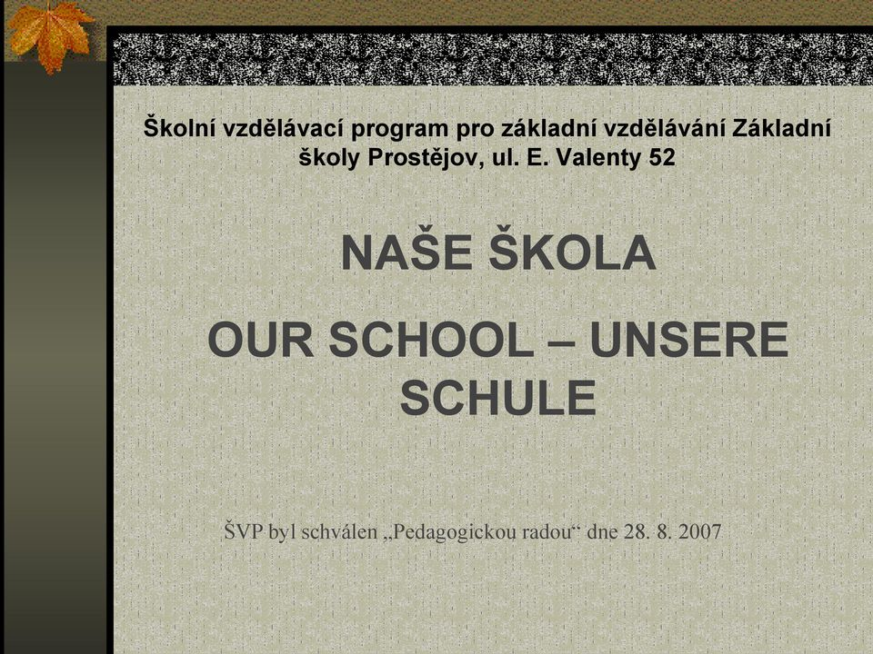 Valenty 52 NAŠE ŠKOLA OUR SCHOOL UNSERE