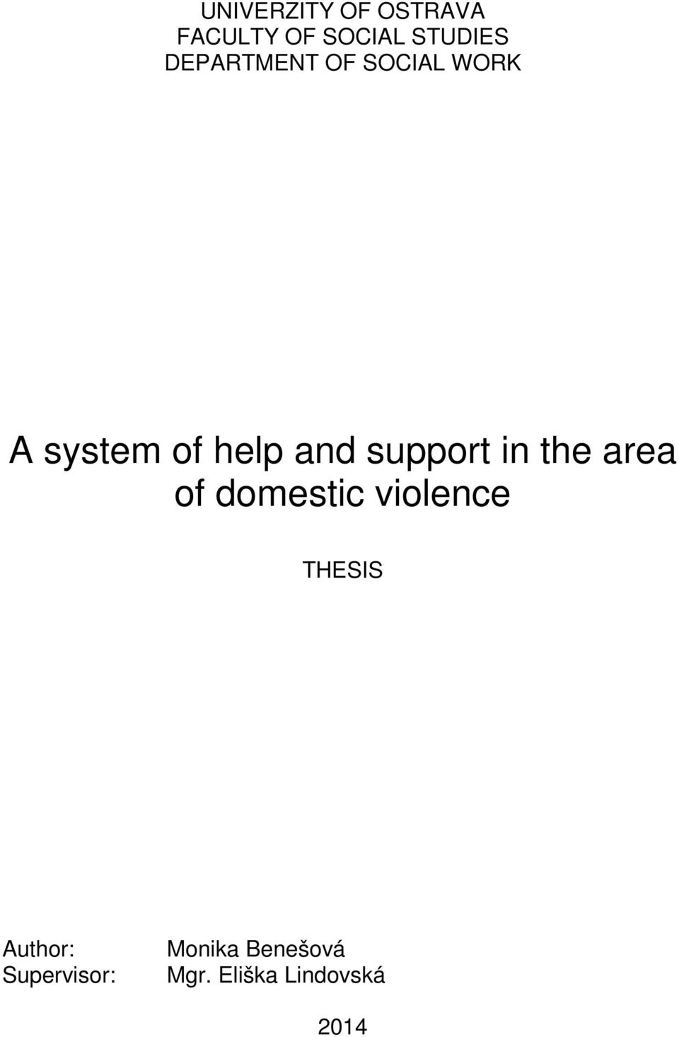 support in the area of domestic violence THESIS