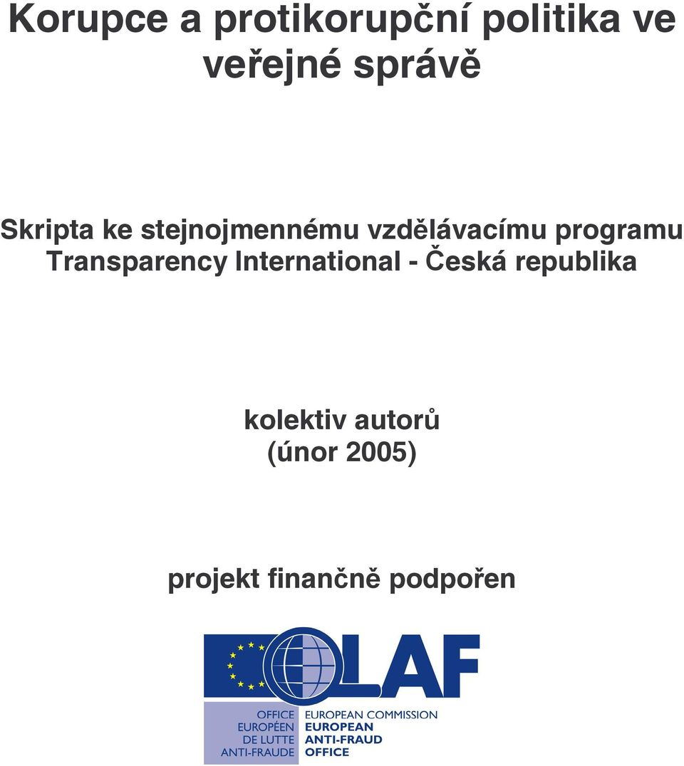 programu Transparency International - Česká