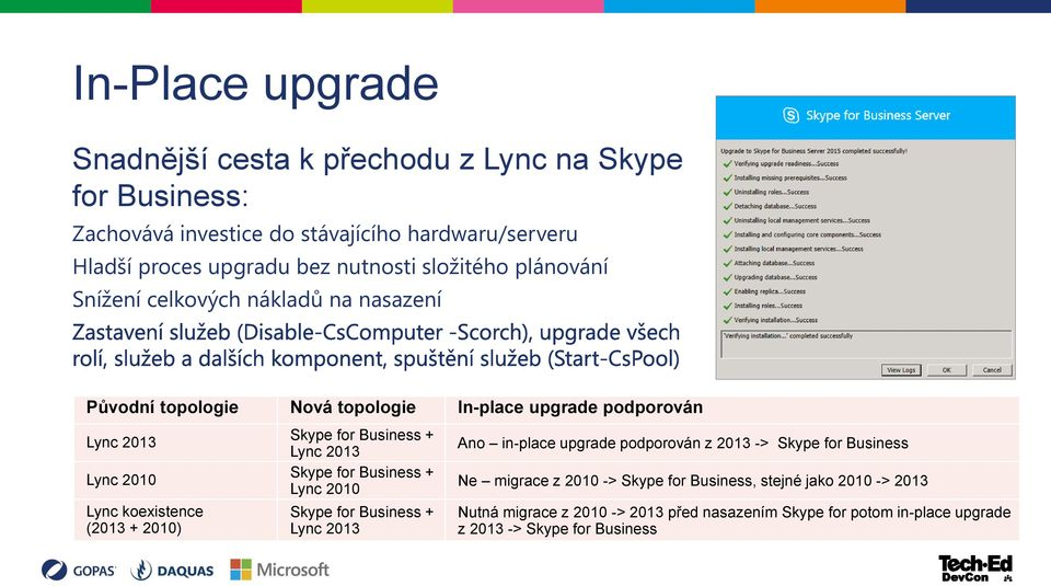 2010) Skype for Business + Lync 2013 Skype for Business + Lync 2010 Skype for Business + Lync 2013 Ano in-place upgrade podporován z 2013 -> Skype for Business Ne