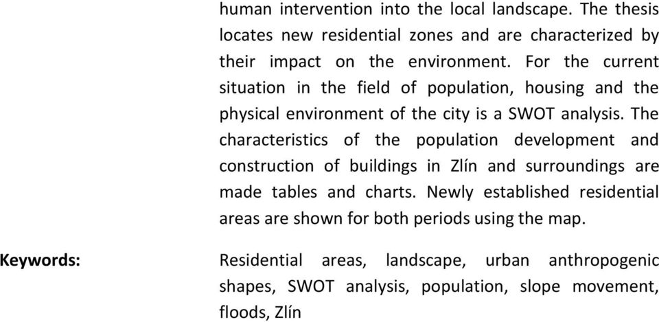 The characteristics of the population development and construction of buildings in Zlín and surroundings are made tables and charts.