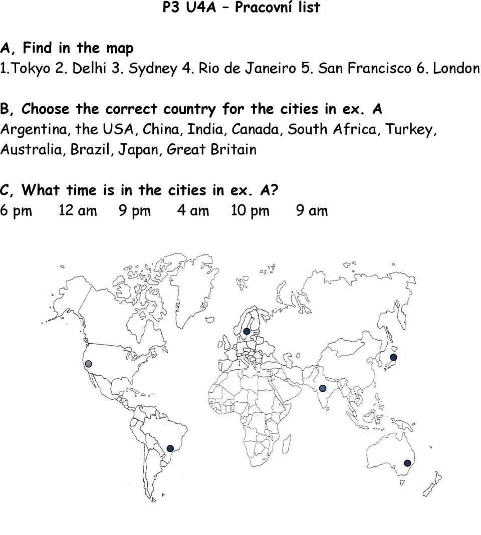 London B, Choose the correct country for the cities in ex.