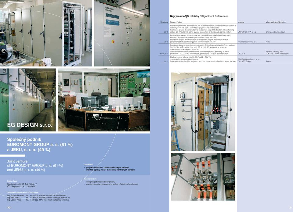 transforming station & 6 kv switching room - LV and connection to Microscada control system UNIPETROL RPA, s. r. o.